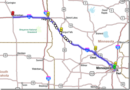 Day 1 St. Paul to Jamestown
