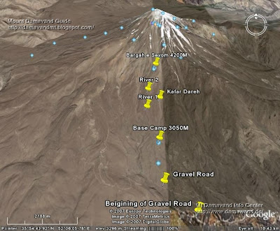 South Route Google Earth Photo Mt Damavand