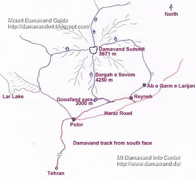 Map How to go to Damavand Mount