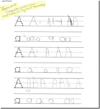 Jackson's first homework September 9 2010