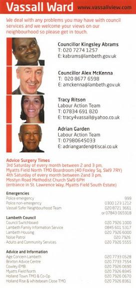 image of Labour Vassall Action Team calendar useful information