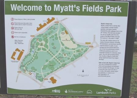 Myatt's Fields Park sign, Vassall Ward, SE5