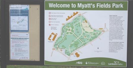 Myatts Fields Park sign, Vassall Ward, SE5