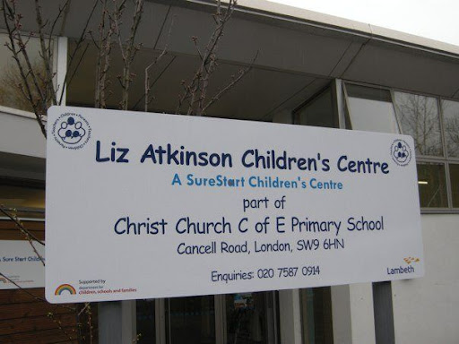Liz Atkinson Childrens Centre sign in Vassall Ward, Lambeth SW9
