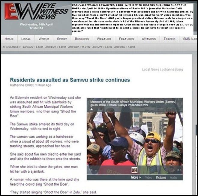 Hatespeech Shoot the Boer Edendale woman sjambokked strikers Shoot the boer chanting Apr142010 Radio702EyeWitnessNews