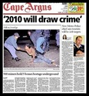 wc2010 will draw crime Metrocop Cape Town warns tourists will be soft targets