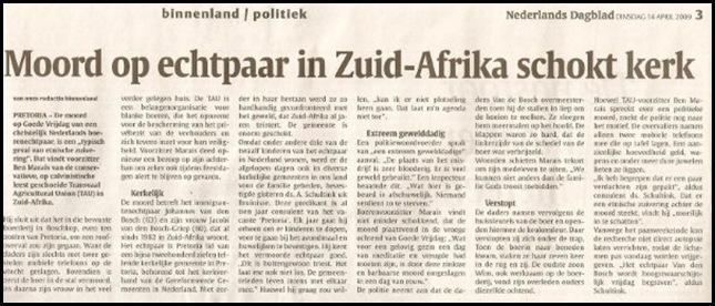 Boschkop VdBosch dairy farm couple murders Dutch news media 16April2009