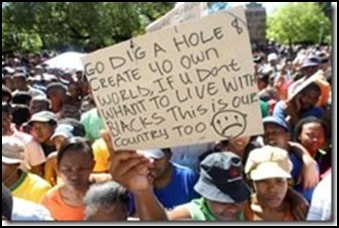 Go Dig a hole message to SA whites by black protestors