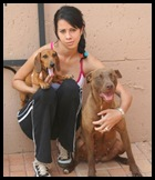 Eastes Allecia 20 with her other dogs Her husky was shot dead by a berserker at Hartbeespoort AH Feb162010 Beeld