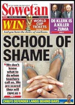 Filadephia school of shame Sowetan front page