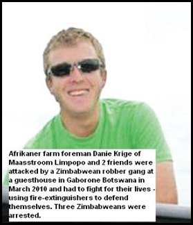 Krige Danie Facebook miniwar between gang and Afrikaner tourists Botswana