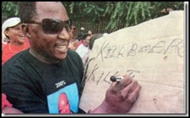 Note the Jacob Zuma tshirt worn by this hatespeech sloganeer at the University of Free State...