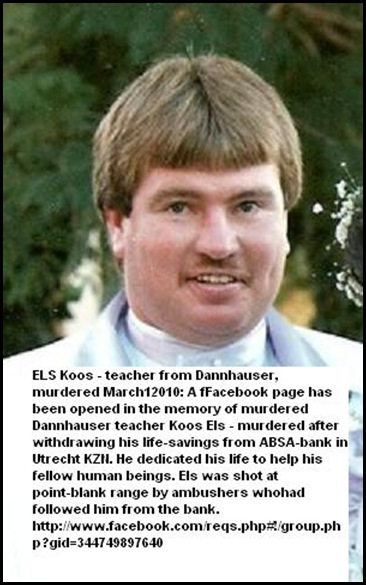 Els Koos teacher Dannhauser murdered after drawing cash at ABSA Utrecht March12010
