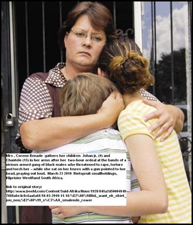 Benade Mrs Corene hugs kids Johan 9 and Chantele 15 March232010 SmalloldingRietspruitAttack