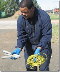 Explosives cache exploded by LtCol Kallie van Wyk Kuruman April SAPS 2010