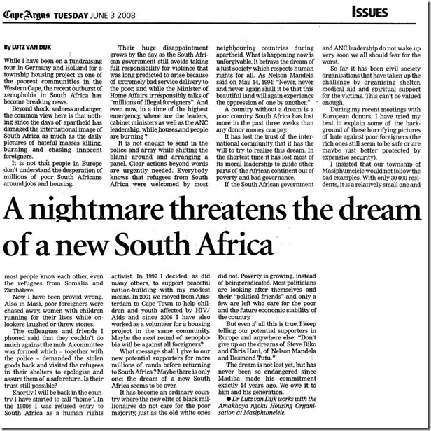 Dr Lutz van Dijk piece on Xenophobic attacks June32008