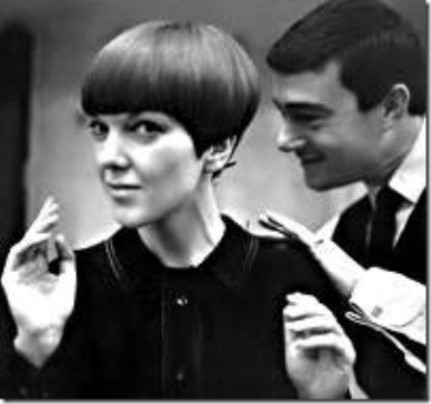 edgy mod blonde rock hair. Vidal Sassoon hairstyle with Mary Quant fashions