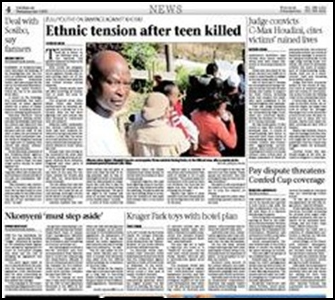 Ethnic Tension after teen killed Natal Mercury P4 June32009