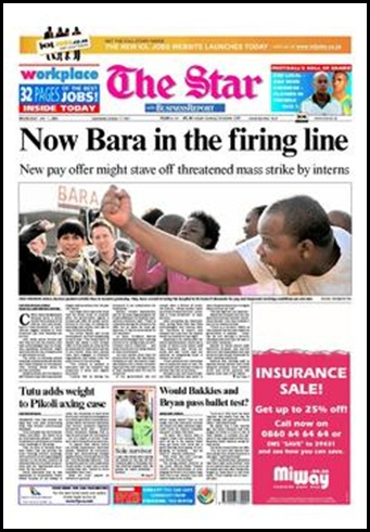 BaragwanathHospitalStrikingFrontPageTheStar