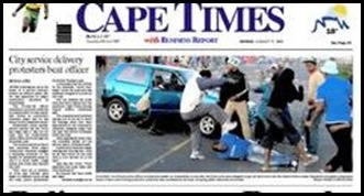 Police constable beaten up by Khayelitsha mob Cape Times Aug 17 2009
