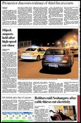 Pretoria High Speed carchase cops robbers shooting at each other Oct 72009