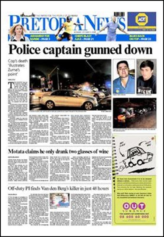 Scheepers, Capt Carl 39 shot dead Pretoria Oct 4 2009