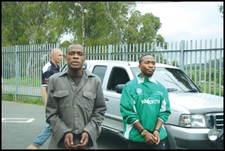 Howick SAPS det Michael Sokhela front with 2 suspects Dr Warwick Dorning murder Nov 7 2009 farm