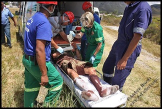 Fernkloof rescue Hermanus Injured Canadian hiker after attack Dec 2009 Pic Andrew Brooks