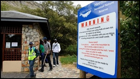 Fernkloof reserve Hermanus South Africa Warning Signs to Visitors about Security problems Dec12009