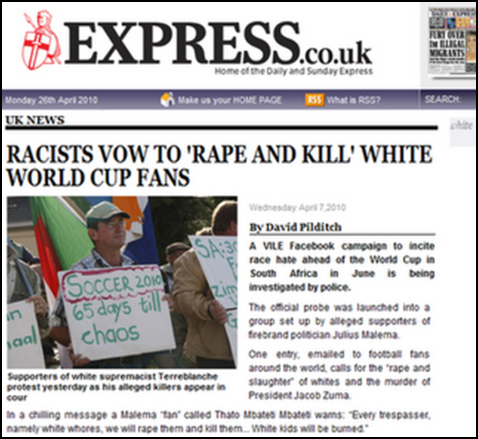 Black Racists vow to rape and kill white WC2010 fans David Pilditch article UK