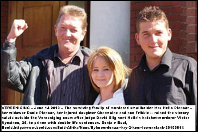 Pienaar family celebrates life sentence for Victor Nyezineu Vereeniging Court