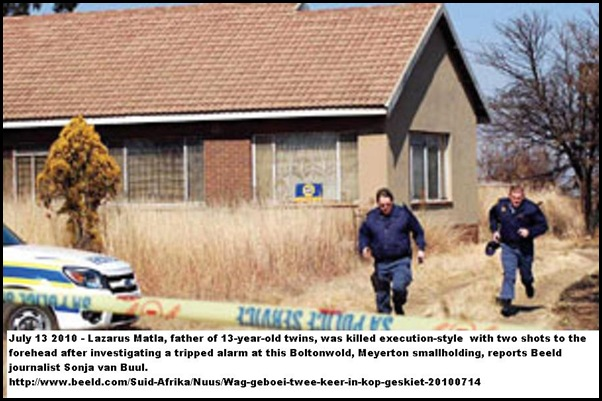 Matla Lazarus 49 executed guard Boltonwold Meyerton smallholding July132010Scene2