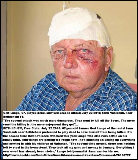 Lange Gert 67 attacked 2nd time Vaalbank farm Bethlehem July 22 2010 Beeld pic
