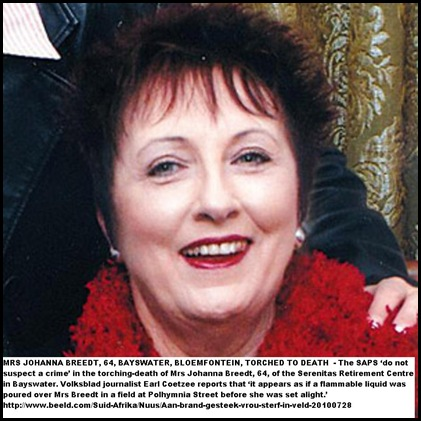 Breedt Johanna torched to death Bloemfontein Bayswater Serenitas July 28 2010