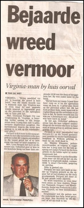 Peripoli Govanni Virginia July 31 2010 murdered knifeman carved belly open nothing robbed