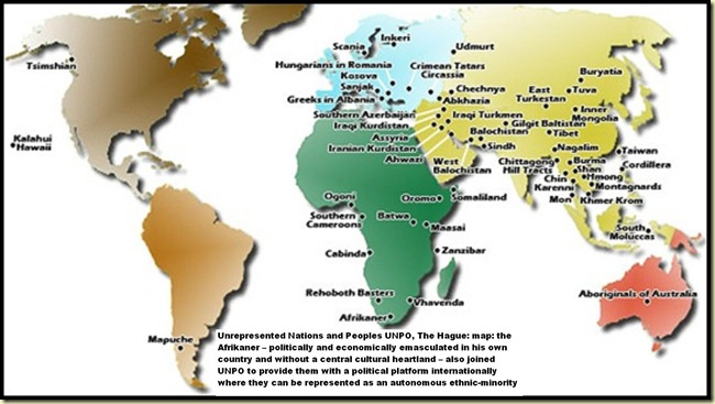 UNPO map of unrepresented Nations and Peoples includes the Afrikaner