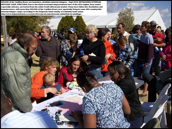 Boer Internal Refugee Camps registration for social welfare application during Jacob Zuma to camp Bethlehem, Pretoria