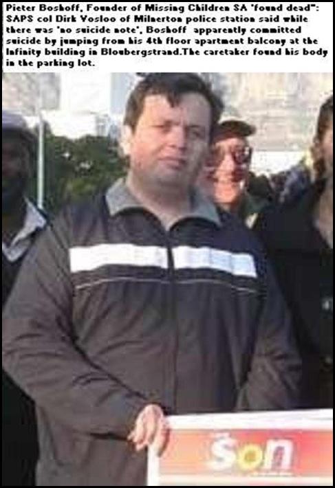 Boshoff Pieter dead MISSING CHILDREN OF SA