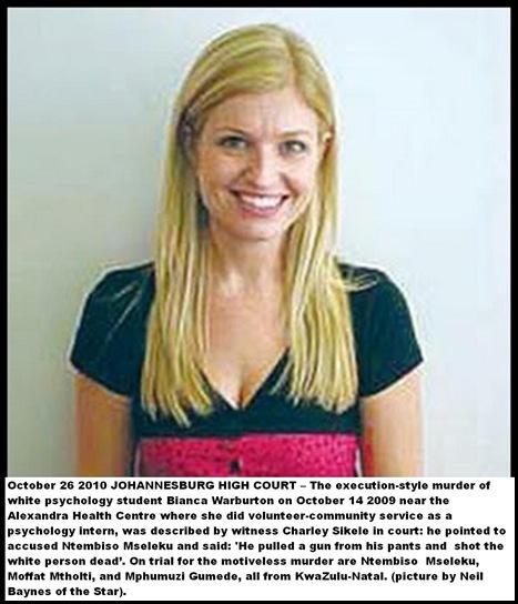 Warburton Bianca murdered psychology student Alexandra clinic volunteer Oct 13 2009