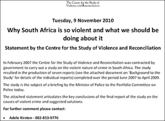 CRIME VIOLENCE CRUELTY IN SA REPORT CSVR