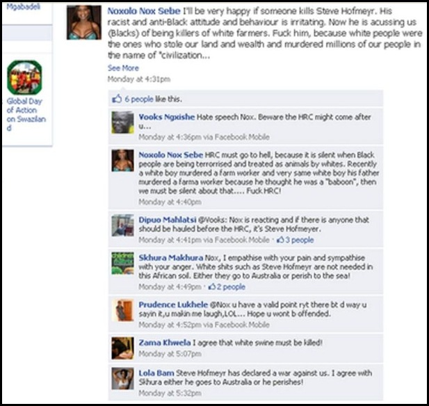 HOFMEYR HATESPEECH BY NOXOLO NOX SEBE FACEBOOK PAGE DEC12010