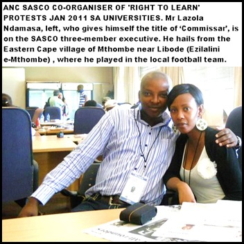ANC SASCO ORGANISER COMMISSAR LAZOLA NDAMASE RIGHT TO LEARN PROTESTS