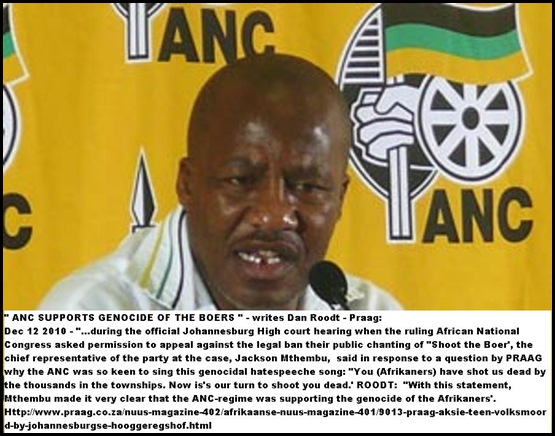 ANC SPOKESMAN JACKSON MTHEMBU SUPPORTS BOER GENOCIDE HATESPEECH SONG