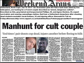 SUTHERLAND FRENCH ARMED COUPLE MANHUNT JAN152011 CULTISTS