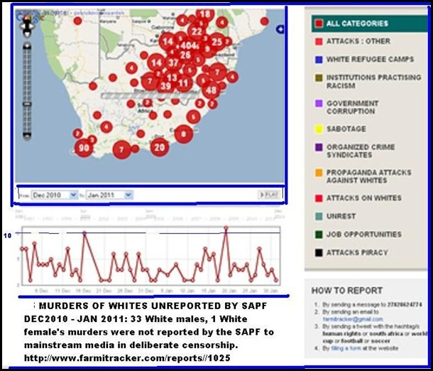 SAPS UNREPORTED DEATHS OF WHITES 34 IN DEC JAN 2011 FARMITRACKER