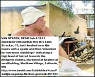 Staden_ v_ Deon murdered with partner Strecker_ Babs murdered with partner Deon van Staden Bethanie NW smallholding Feb42011