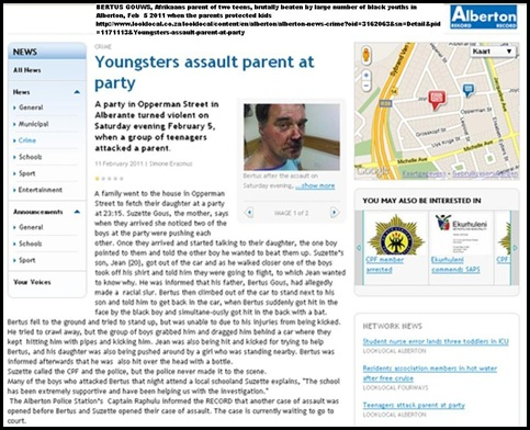 Gouws Berthus brutallybeaten by black youths Alberton Record Feb112011