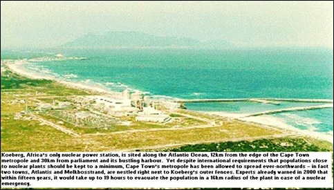Koeberg Nuclear Power Station Cape Town earthquake warning by expert April 11 2010