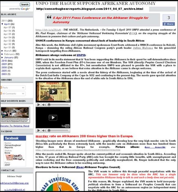 AFRIKANER VVK VERKENNER UNPO AUTONOMY APR52011 PAUL KRUGER