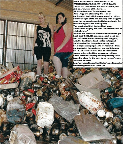 AFRIKANER_OWNED FOOD SHOP HARASSED BY ANC MUNICIPALITY JANINE HESTER SNOOK RICHMANPOORMAN